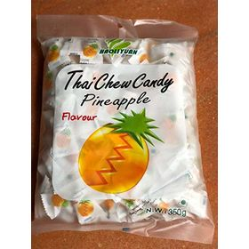 Thai Chew Pineapple Toffee Gummy Milk Fruit Candy 360G (100 Pieces)