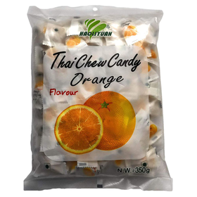 Thai Chew Orange Toffee Gummy Milk Fruit Candy 360G (100 Pieces)