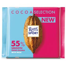 Ritter Sports Cocoa Selection 55% Smooth with Cocoa Mass with Milk Chocolate Bar, 100g