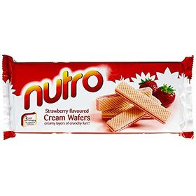 Pack of Two NUTRO Strawberry Flavoured Cream WAFERS (Pack of 2) 75 GM Each