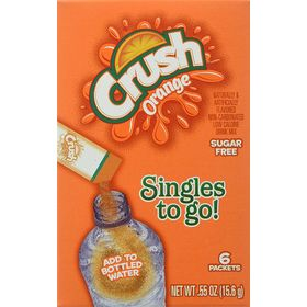 Crush Singles To Go! Sugar-Free Low Calorie Orange Drink Mix, 0.5 Oz