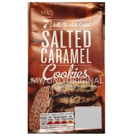 MARKS AND SPENCER CHOCOLATE COATED SALTED CARAMEL COOKIES 7 COOKIES PACK