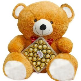 24 Inches Brown Teddy Bear With 24 pcs Ferrero Rocher Chocolastes