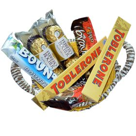 7 Premium Branded Chocolates In A Hand Crafted Basket