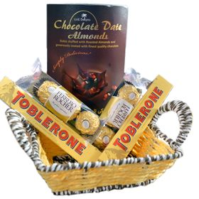Swiss Chocolates in a handcrafted basket