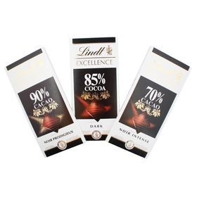 Lindt Excellence Combo Of 90%, 85% And 70% Cocoa Dark Chocolate Bar, 100G Each (Pack Of 3)