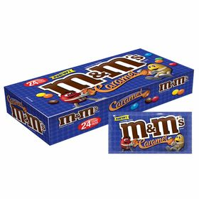 M and M's Caramel Chocolate Candy Singles Size 1.41-Ounce Pouch, 24-Count Box