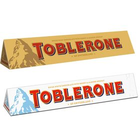 Toblerone Pack Of 2 Milk and White 100g Each