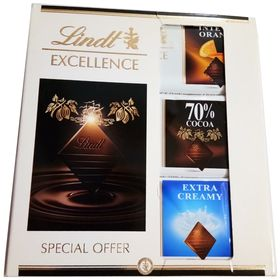Lindt Excellence 3 in 1 Gift Pack Extra Creamy, Orange, 70% Dark 35g Each