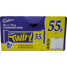 Cadbury Twirl Chocolate Case of 48 x 43 Gram Bars