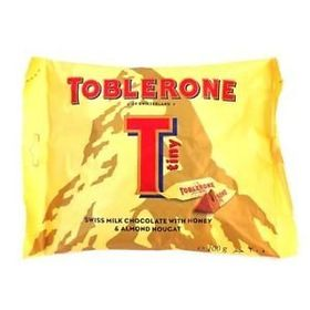 Toblerone Tiny Swiss Milk Chocolate Honey & Almond Nougat, 200 Grams and Silver Plated Coin