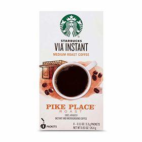 Starbucks VIA Instant Medium Roast Coffee Pike Place Coffee Box ( 8 X 3.3g ), 26.4g