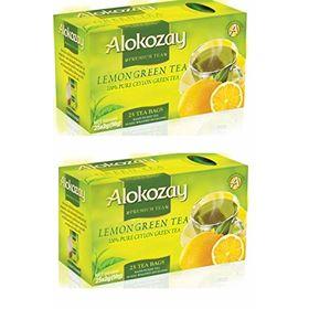 Alokozay Lemon Tea 100% Pure Ceylon Green Tea 25 Tea Bag ( Pack of 2 ), 50g