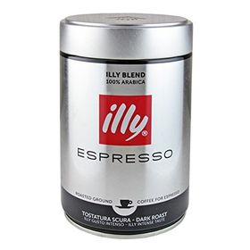 Illy Blend Arabica Espresso Dark Roasted Ground Coffee, 250g