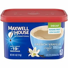 Maxwell House International Coffee Decaf Sugar Free French Vanilla Cafe Style Beverage Mix Canister 114g
