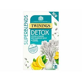 Twinings Detox Superblends Lemon & Ginger with Burdock Root & Fennel Tea 20 Tea Bag, 40g