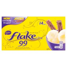 Cadbury Flake 99s- 14 Chocolate Bar, 114g Box