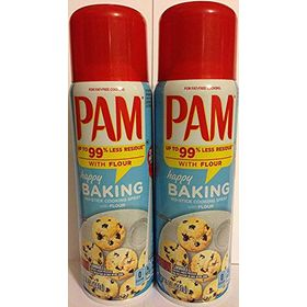 Pam No-Stick Cooking Spray - Happy Baking - with Flour - Net Wt. 5 OZ (141 g) Each - Pack of 2