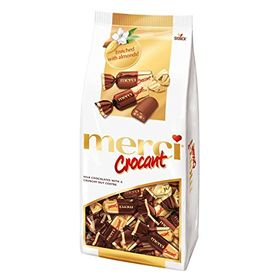 Merci Storck Crocant Milk Chocolate with Crunchy Nut Centre Packet, 185g
