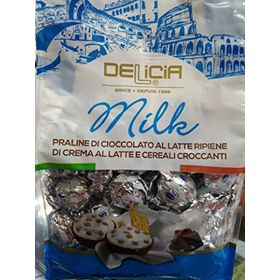 Delicia Milk Chocolate Pralines With Milk Filling And Crispy Cereals Bag, 1kg