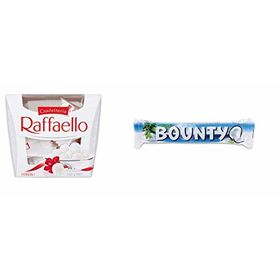 Combo Pack of Ferrero Raffaello Coconut and Almond White Chocolate 15 Piece Gift Box, 150g & Mars Bounty Chocolate Bar 57g, 207g