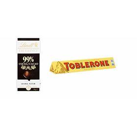 Combo Pack of Lindt 99% Cocoa Dark Chocolate Bar 50g & Toblerone Swiss Milk Chocolate Bar, 100g