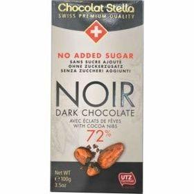 Stella No Added Sugar Noir 72% ( 72% Dark ) Chocolate Bar, 100g