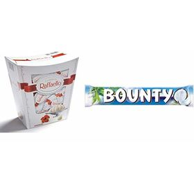 Combo Pack of Ferrero Raffaello Coconut and Almond White Chocolate Gift Box, 230g & Mars Bounty Chocolate Bar 57g