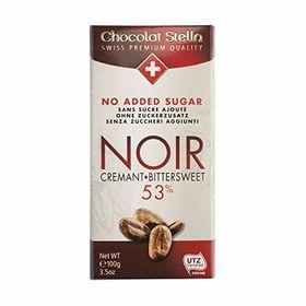 Stella No Added Sugar Noir Cremant ( Dark Bitter Sweet 53% ) Chocolate Bar, 100g