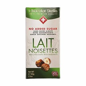 Stella No Added Sugar Lait Noisettes ( Milk Chocolate with Hazelnut ) Chocolate Bar, 100g