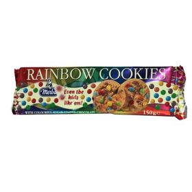 Merba Rainbow Cookies with Colourful Sugar Coated Chocolate 150g