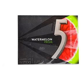Wrigley's 5 Watermelon Prism Sugar Free Gum 15 Sticks, (Pack of 2) 41g
