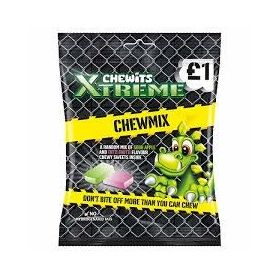 Chewits Xtreme Chewmix Sour Apple & Tutti Fruitti Flavour Chewy Sweet Inside Candy Packet, 125g