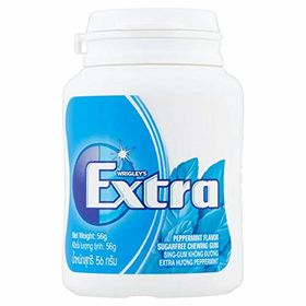 Wrigley's Extra Sugar Free Peppermint Flavour Chewing Gum Bottle, 56g