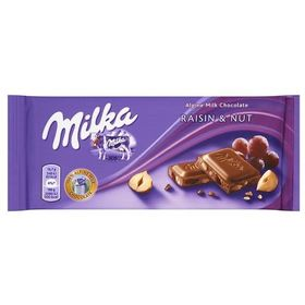 Milka Raisin & Hazelnut Chocolate Bar 100g