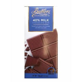 Butler 40% Milk Chocolate Bar, 100g