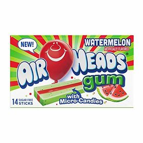 Airheads Watermelon Sugar Free Gum with Micro Candies 14 Sticks (Pack of 2) , 33.6 g