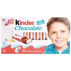 Kinder Milk Chocolate 32 Individually Wrapped Bars, 400g