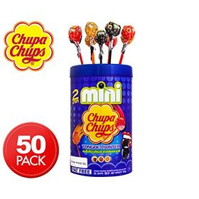 Chupa Chups Mini Cola & Strawberry Flavour Lollipops 50 Units Jar, 300g