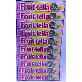 Fruittella 2 in 1 Strawberry Banana Flavour Chewy Candy 20 Stick Box ( 20 X 32.4g ), 648g