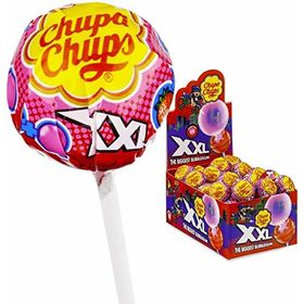 Chupa Chups XXL Lollipop with Bubble Gum Strawberry Flavour Box 25 Pcs (25 X 29g), 725g