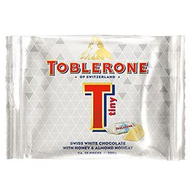 Toblerone Tiny Swiss White Chocolate with Honey and Almond Nougat Packet, 200g