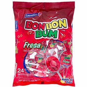 Colombina Bon Bon Bum Strawberry 48 Lillipop Pcs Packet, 816g