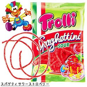 Trolli Spaghettini Sour Strawberry Gummy Candy Packet, 100g