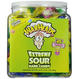 Warheads Extreme Sour Assorted Hard Candy 240 Pcs Jar, 964g