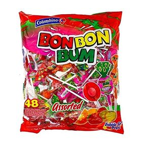 Colombina Bon Bon Bum Assorted 48 Lillipop Pcs Packet, 816g