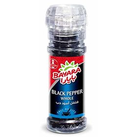 Bayara Black Pepper Whole Bottle with Grinder, 40g