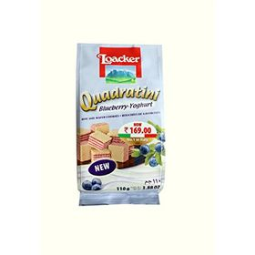Loacker Quadratini Blueberry Yoghurt Wafer Cookies, 110g