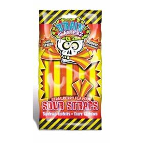 Brain Blasterz Strawberry Flavour Sour Straps Packet, 150g