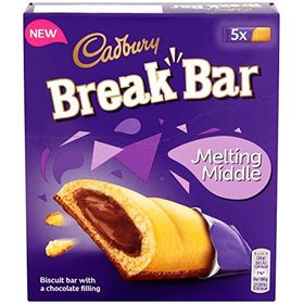 Cadbury Break Bar Melting Middles Chocolate Filling Biscuit, 5 X 26g, 130g